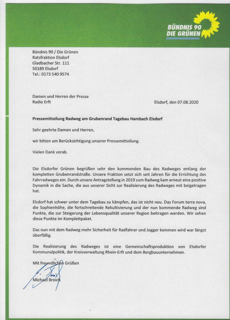 Pressemitteilung Radweg Grubenrand